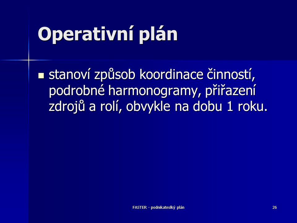 FASTER - podnikateslký plán26 Operativní plán stanoví způsob koordinace činností, podrobné harmonogramy, přiřazení zdrojů a rolí, obvykle na dobu 1 ro