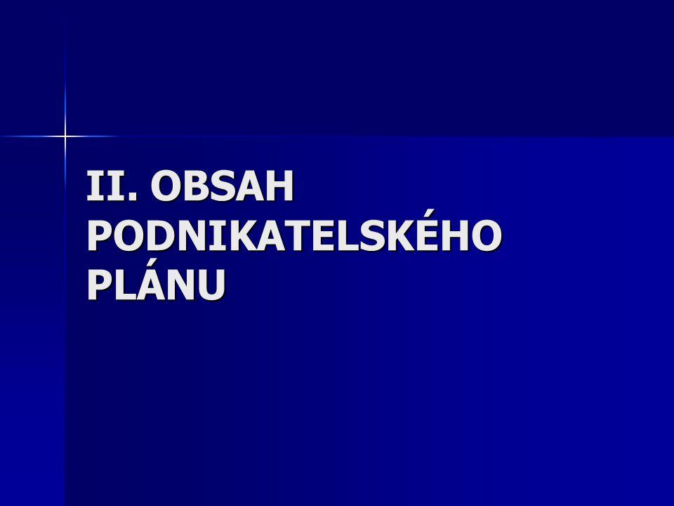II. OBSAH PODNIKATELSKÉHO PLÁNU