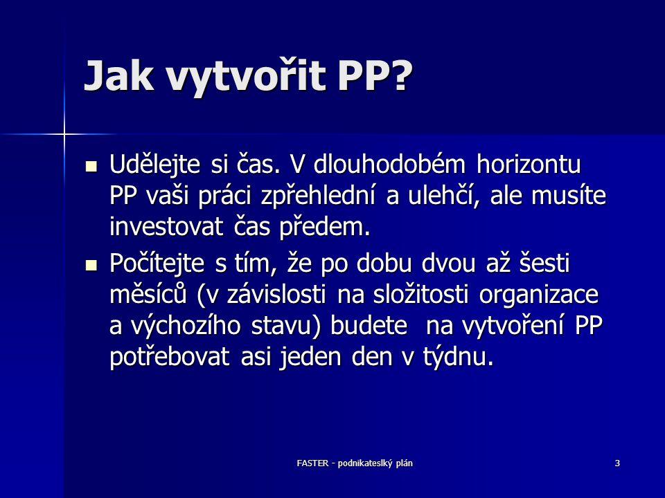 FASTER - podnikateslký plán3 Jak vytvořit PP? Udělejte si čas. V dlouhodobém horizontu PP vaši práci zpřehlední a ulehčí, ale musíte investovat čas př