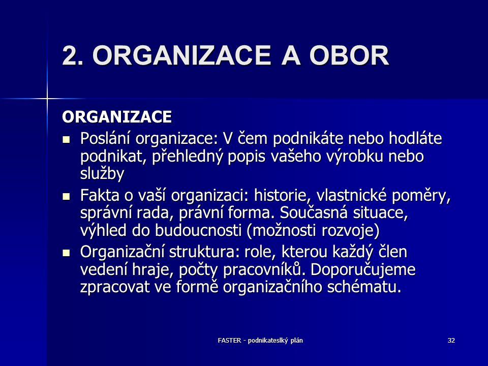 FASTER - podnikateslký plán32 2. ORGANIZACE A OBOR ORGANIZACE Poslání organizace: V čem podnikáte nebo hodláte podnikat, přehledný popis vašeho výrobk