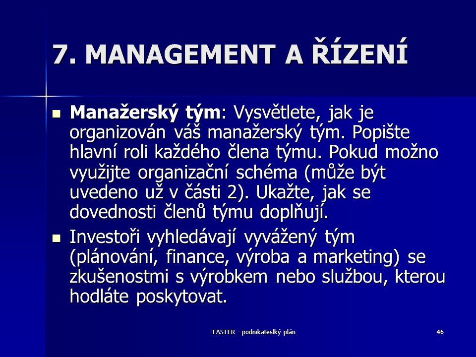 FASTER - podnikateslký plán46 7. MANAGEMENT A ŘÍZENÍ Manažerský tým: Vysvětlete, jak je organizován váš manažerský tým. Popište hlavní roli každého čl