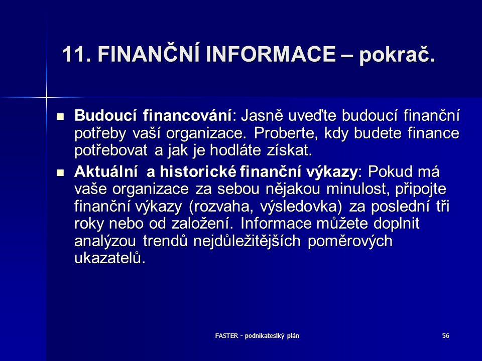 FASTER - podnikateslký plán56 11. FINANČNÍ INFORMACE – pokrač. Budoucí financování: Jasně uveďte budoucí finanční potřeby vaší organizace. Proberte, k