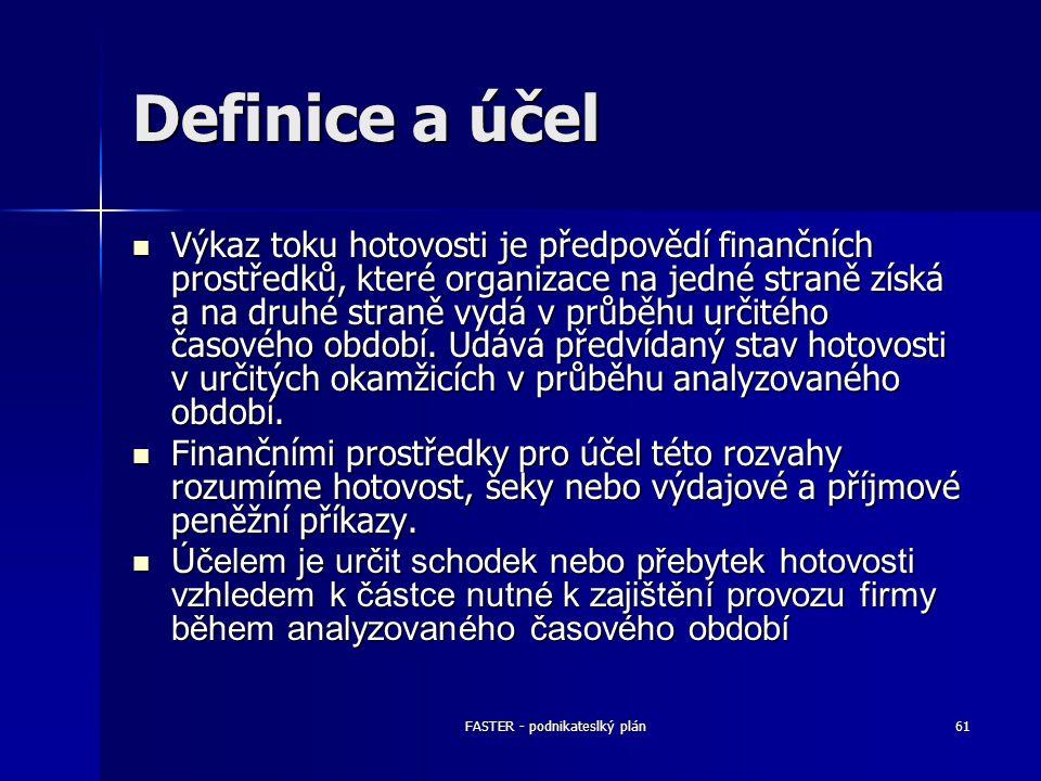 FASTER - podnikateslký plán61 Definice a účel Výkaz toku hotovosti je předpovědí finančních prostředků, které organizace na jedné straně získá a na dr