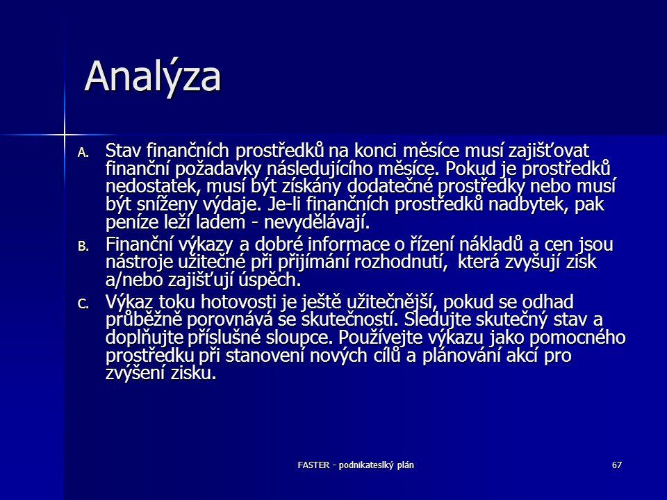 FASTER - podnikateslký plán67 Analýza A. Stav finančních prostředků na konci měsíce musí zajišťovat finanční požadavky následujícího měsíce. Pokud je