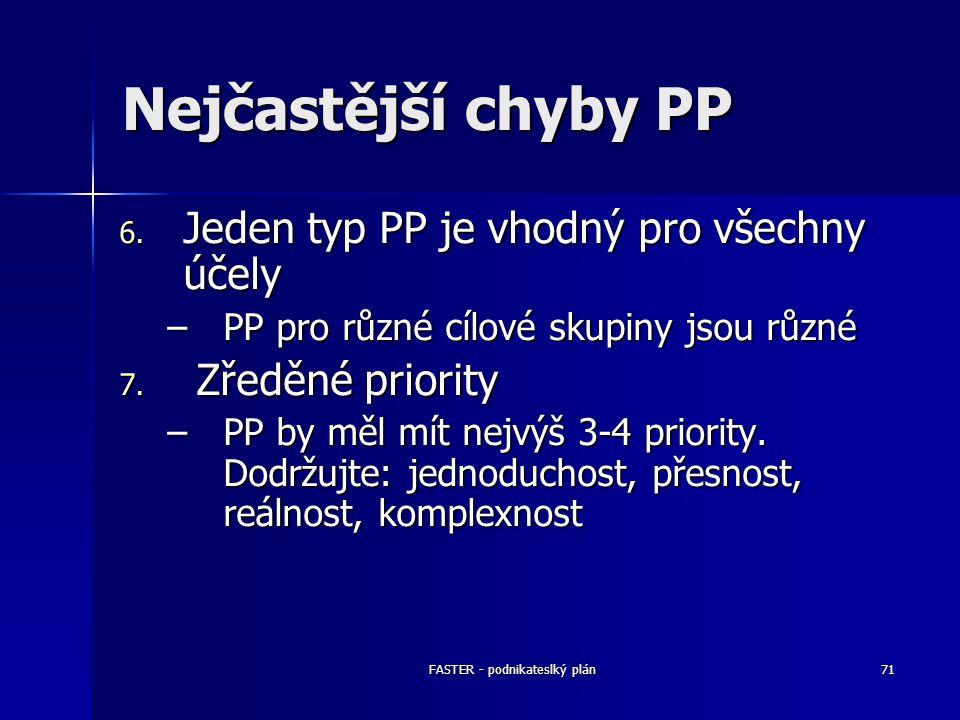 FASTER - podnikateslký plán71 Nejčastější chyby PP 6. Jeden typ PP je vhodný pro všechny účely –PP pro různé cílové skupiny jsou různé 7. Zředěné prio