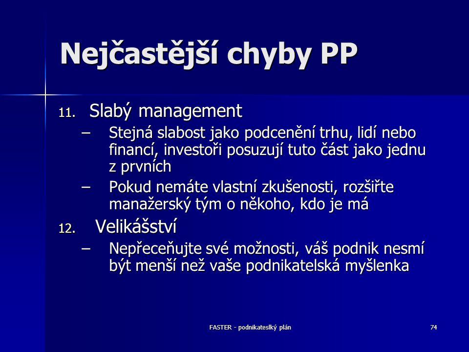 FASTER - podnikateslký plán74 Nejčastější chyby PP 11. Slabý management –Stejná slabost jako podcenění trhu, lidí nebo financí, investoři posuzují tut