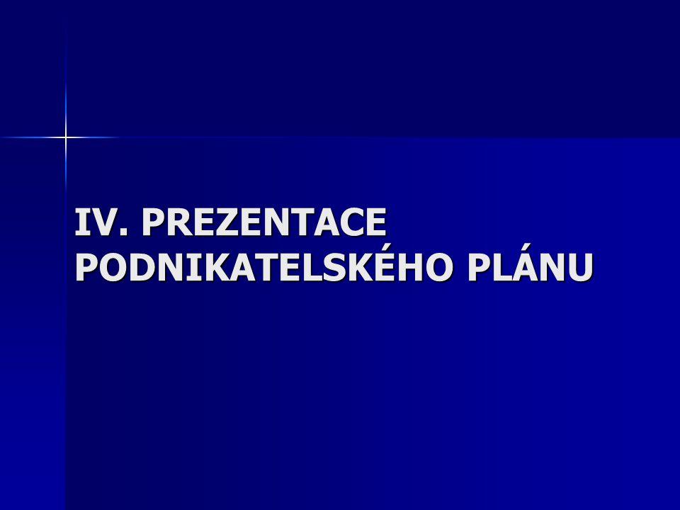 IV. PREZENTACE PODNIKATELSKÉHO PLÁNU