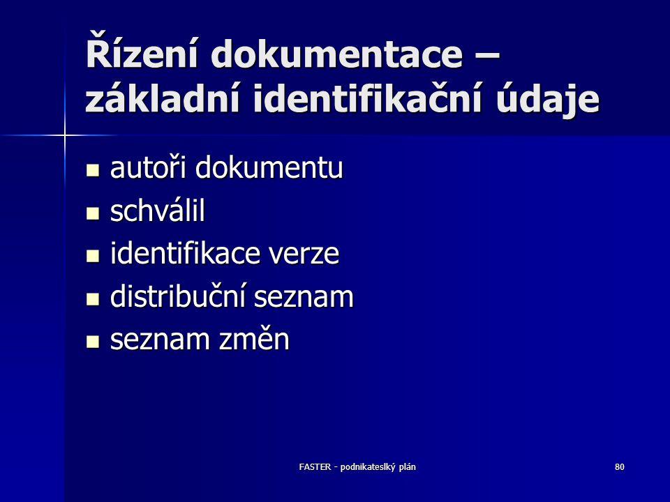 FASTER - podnikateslký plán80 Řízení dokumentace – základní identifikační údaje autoři dokumentu autoři dokumentu schválil schválil identifikace verze