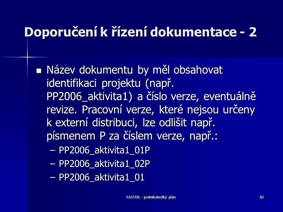 FASTER - podnikateslký plán82 Doporučení k řízení dokumentace - 2 Název dokumentu by měl obsahovat identifikaci projektu (např. PP2006_aktivita1) a čí