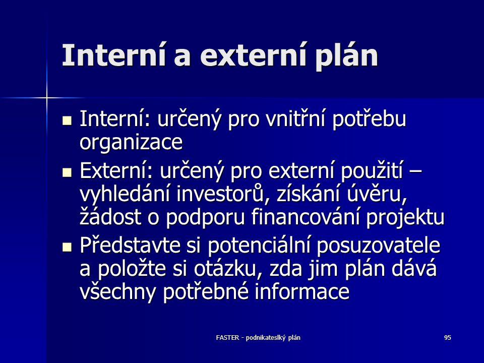FASTER - podnikateslký plán95 Interní a externí plán Interní: určený pro vnitřní potřebu organizace Interní: určený pro vnitřní potřebu organizace Ext