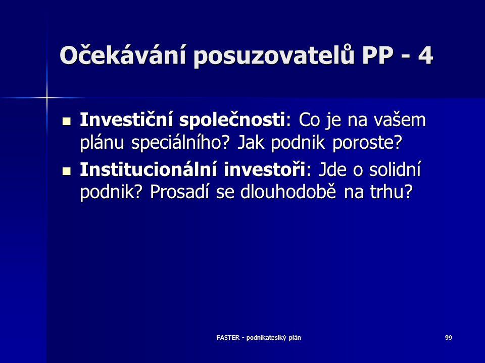 FASTER - podnikateslký plán99 Očekávání posuzovatelů PP - 4 Investiční společnosti: Co je na vašem plánu speciálního? Jak podnik poroste? Investiční s