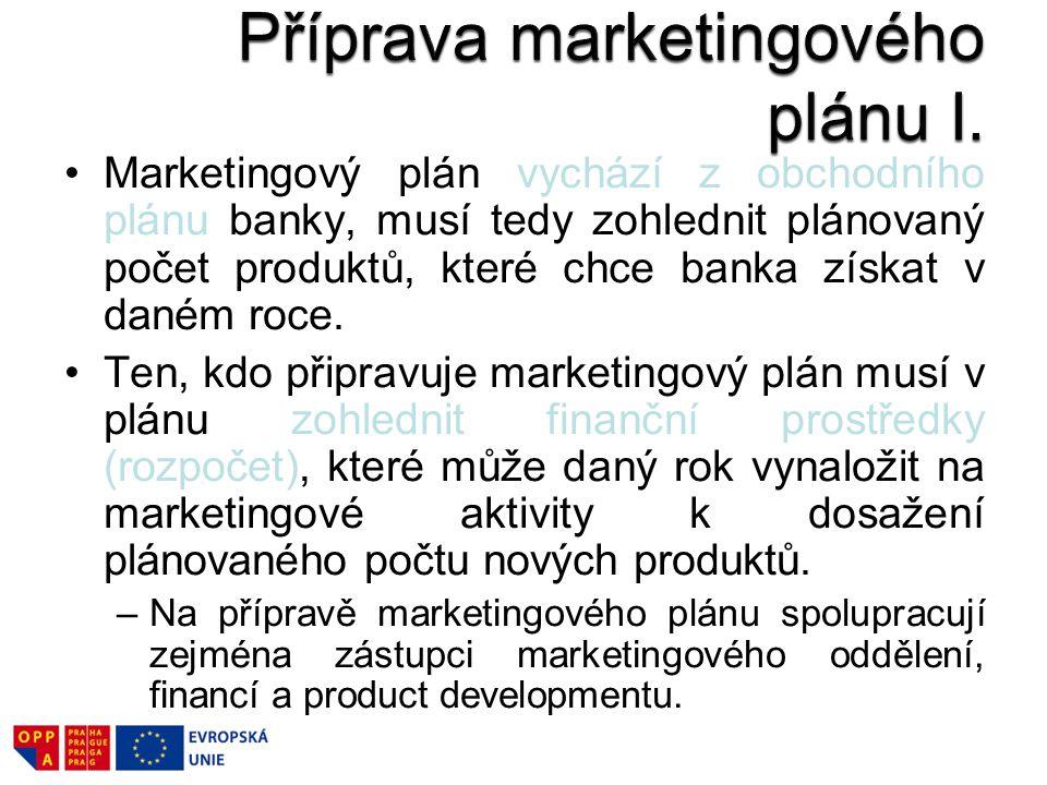 Marketingový plán vychází z obchodního plánu banky, musí tedy zohlednit plánovaný počet produktů, které chce banka získat v daném roce. Ten, kdo připr