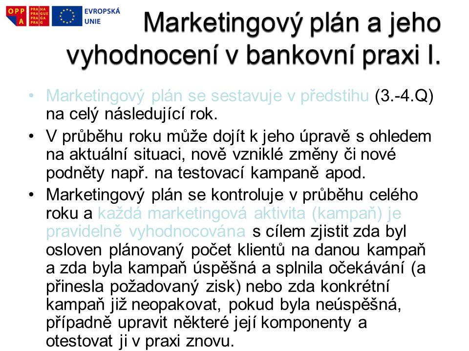 Marketingový plán se sestavuje v předstihu (3.-4.Q) na celý následující rok. V průběhu roku může dojít k jeho úpravě s ohledem na aktuální situaci, no