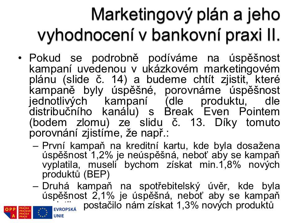 Pokud se podrobně podíváme na úspěšnost kampaní uvedenou v ukázkovém marketingovém plánu (slide č. 14) a budeme chtít zjistit, které kampaně byly úspě