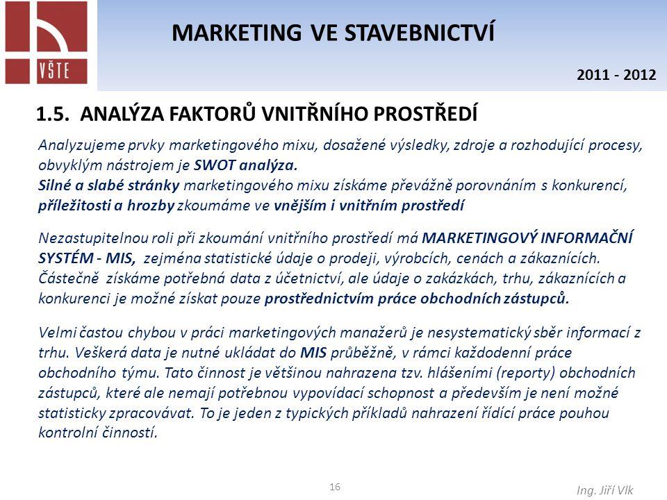 16 MARKETING VE STAVEBNICTVÍ Ing. Jiří Vlk 2011 - 2012 1.5. ANALÝZA FAKTORŮ VNITŘNÍHO PROSTŘEDÍ Analyzujeme prvky marketingového mixu, dosažené výsled