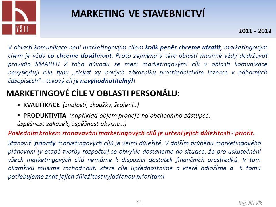 32 MARKETING VE STAVEBNICTVÍ Ing. Jiří Vlk 2011 - 2012 V oblasti komunikace není marketingovým cílem kolik peněz chceme utratit, marketingovým cílem j
