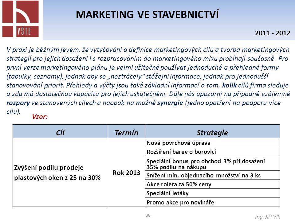 38 MARKETING VE STAVEBNICTVÍ Ing. Jiří Vlk 2011 - 2012 V praxi je běžným jevem, že vytyčování a definice marketingových cílů a tvorba marketingových s