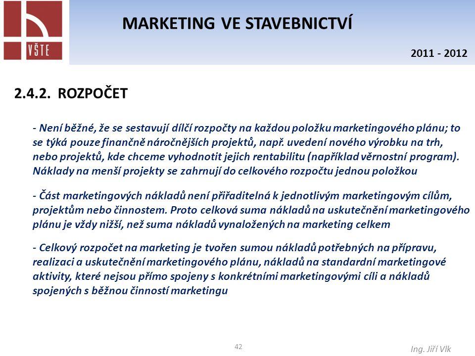 42 MARKETING VE STAVEBNICTVÍ Ing. Jiří Vlk 2011 - 2012 - Není běžné, že se sestavují dílčí rozpočty na každou položku marketingového plánu; to se týká