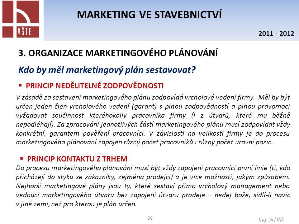 56 MARKETING VE STAVEBNICTVÍ Ing. Jiří Vlk 2011 - 2012 3. ORGANIZACE MARKETINGOVÉHO PLÁNOVÁNÍ Kdo by měl marketingový plán sestavovat?  PRINCIP NEDĚL