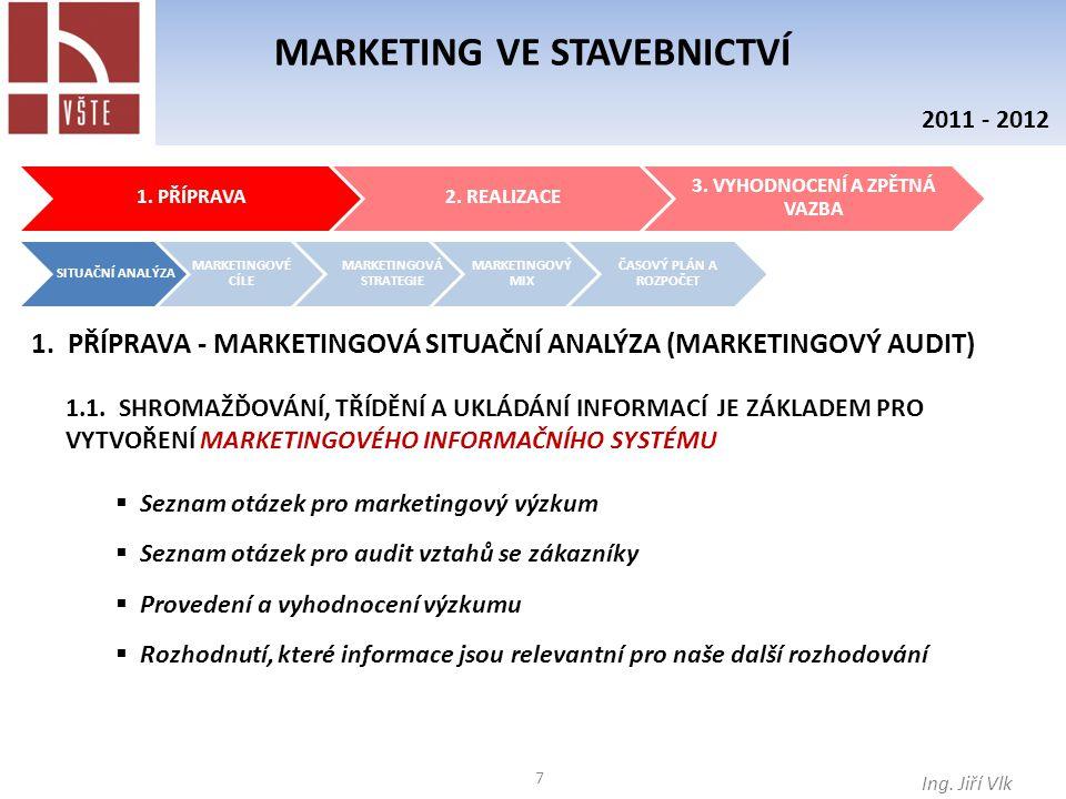 8 MARKETING VE STAVEBNICTVÍ Ing.Jiří Vlk 2011 - 2012 1.2.