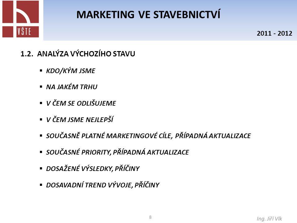 39 MARKETING VE STAVEBNICTVÍ Ing.Jiří Vlk 2011 - 2012 MARKETINGOVÁ STRATEGIE MARKETINGOVÉ CÍLE 1.