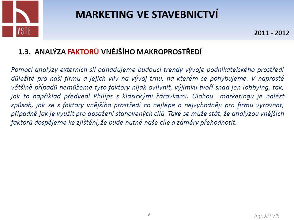 10 MARKETING VE STAVEBNICTVÍ Ing.Jiří Vlk 2011 - 2012 1.3.
