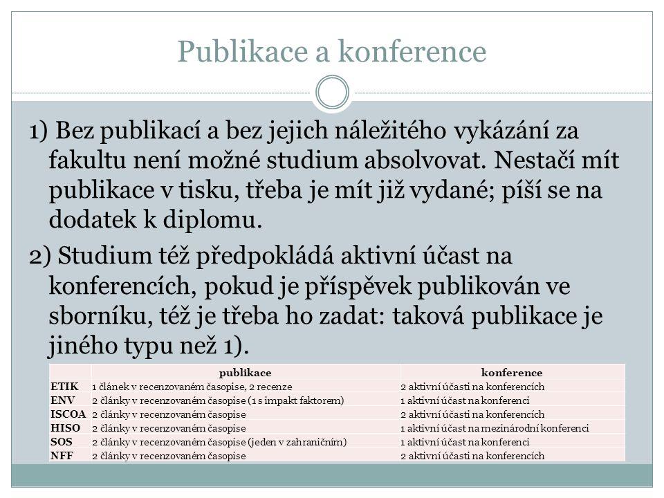 Publikace a konference 1) Bez publikací a bez jejich náležitého vykázání za fakultu není možné studium absolvovat. Nestačí mít publikace v tisku, třeb