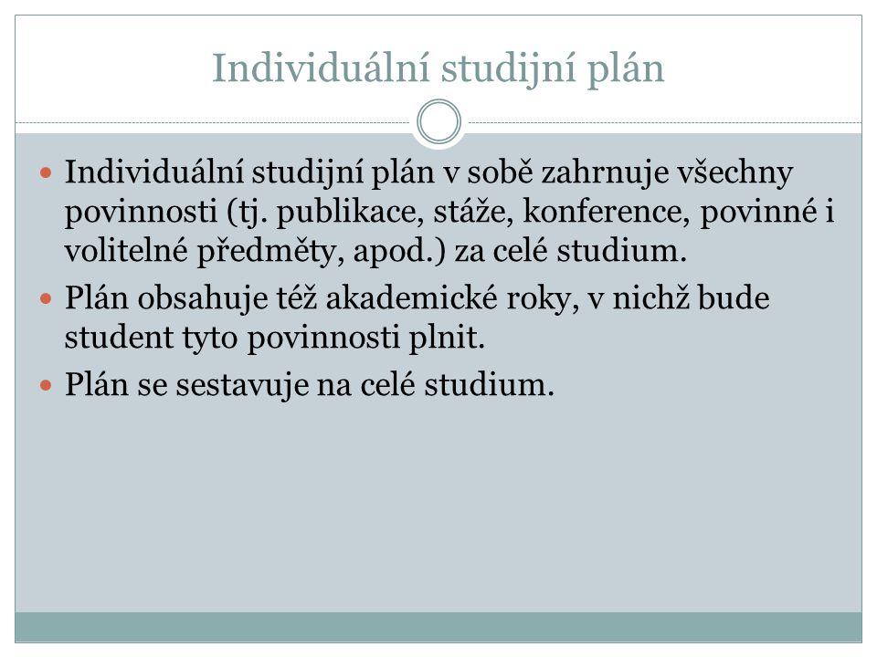 Individuální studijní plán Individuální studijní plán v sobě zahrnuje všechny povinnosti (tj. publikace, stáže, konference, povinné i volitelné předmě