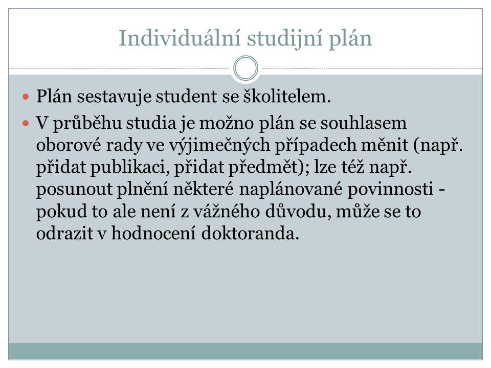 Individuální studijní plán Plán sestavuje student se školitelem. V průběhu studia je možno plán se souhlasem oborové rady ve výjimečných případech měn