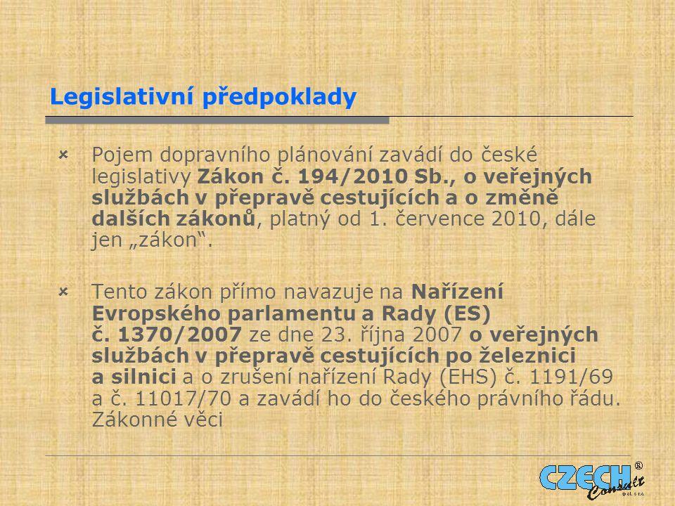 Legislativní předpoklady  Pojem dopravního plánování zavádí do české legislativy Zákon č.