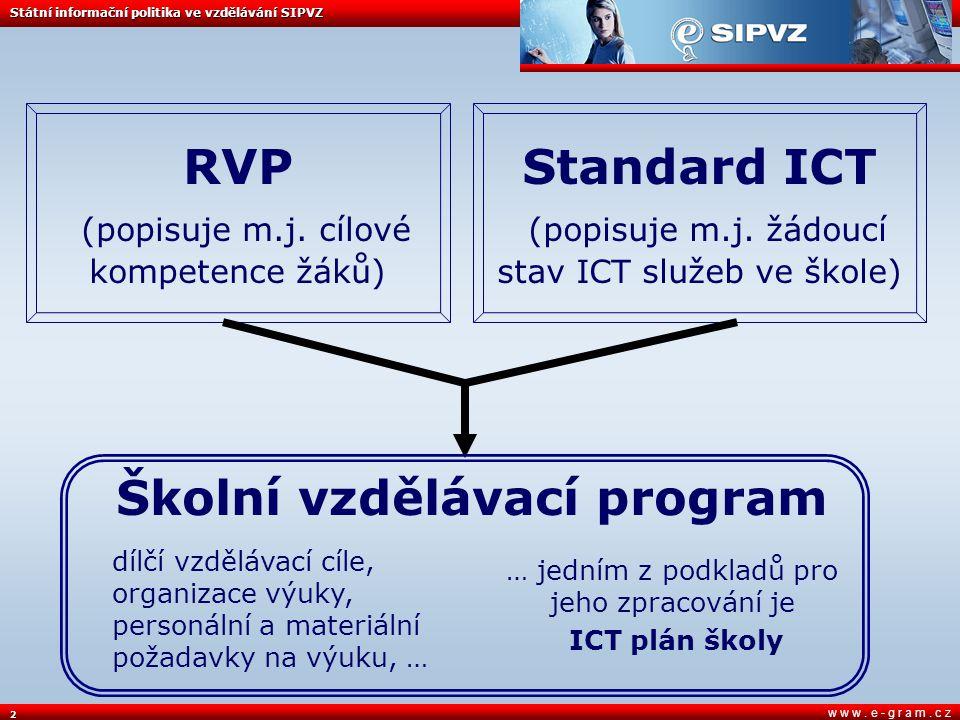 2 w w w. e - g r a m. c z Státní informační politika ve vzdělávání SIPVZ Školní vzdělávací program … jedním z podkladů pro jeho zpracování je ICT plán