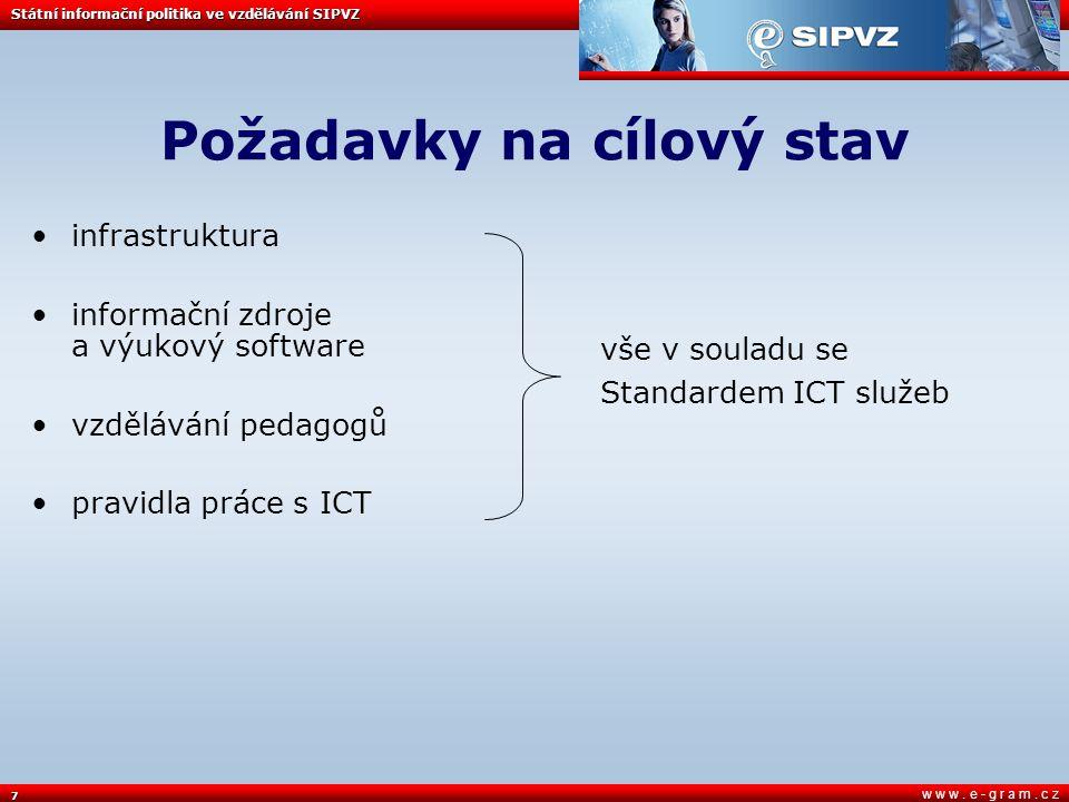 7 w w w. e - g r a m. c z Požadavky na cílový stav infrastruktura informační zdroje a výukový software vzdělávání pedagogů pravidla práce s ICT Státní