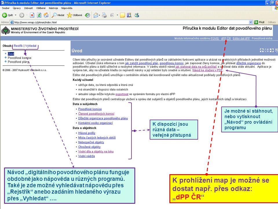 """3 Návod """"digitálního povodňového plánu funguje obdobně jako nápověda u různých programů. Také je zde možné vyhledávat nápovědu přes """"Rejstřík"""" anebo z"""