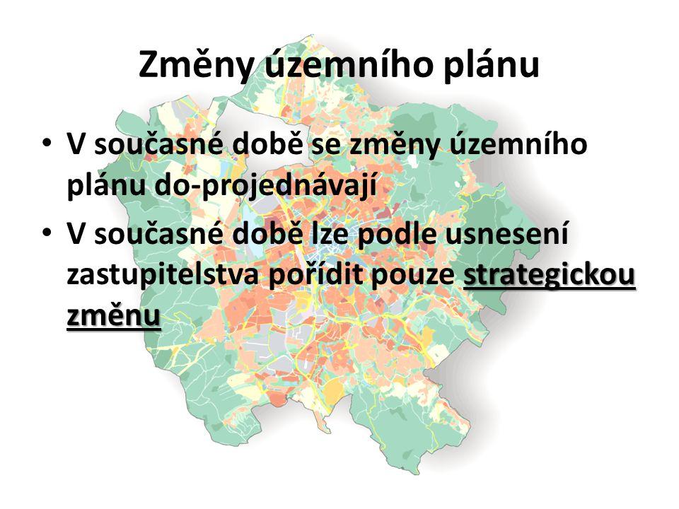 Změny územního plánu V současné době se změny územního plánu do-projednávají strategickou změnu V současné době lze podle usnesení zastupitelstva poří