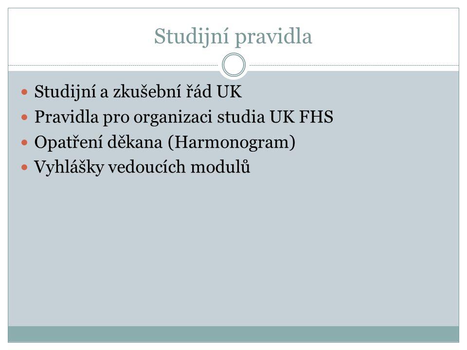 Studijní pravidla Studijní a zkušební řád UK Pravidla pro organizaci studia UK FHS Opatření děkana (Harmonogram) Vyhlášky vedoucích modulů