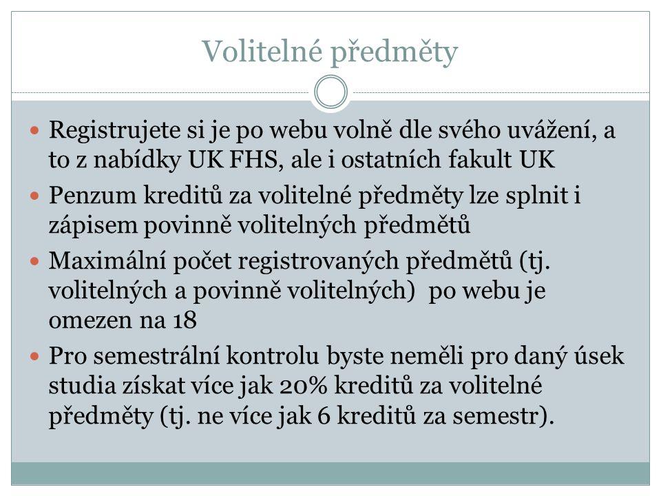 Volitelné předměty Registrujete si je po webu volně dle svého uvážení, a to z nabídky UK FHS, ale i ostatních fakult UK Penzum kreditů za volitelné předměty lze splnit i zápisem povinně volitelných předmětů Maximální počet registrovaných předmětů (tj.