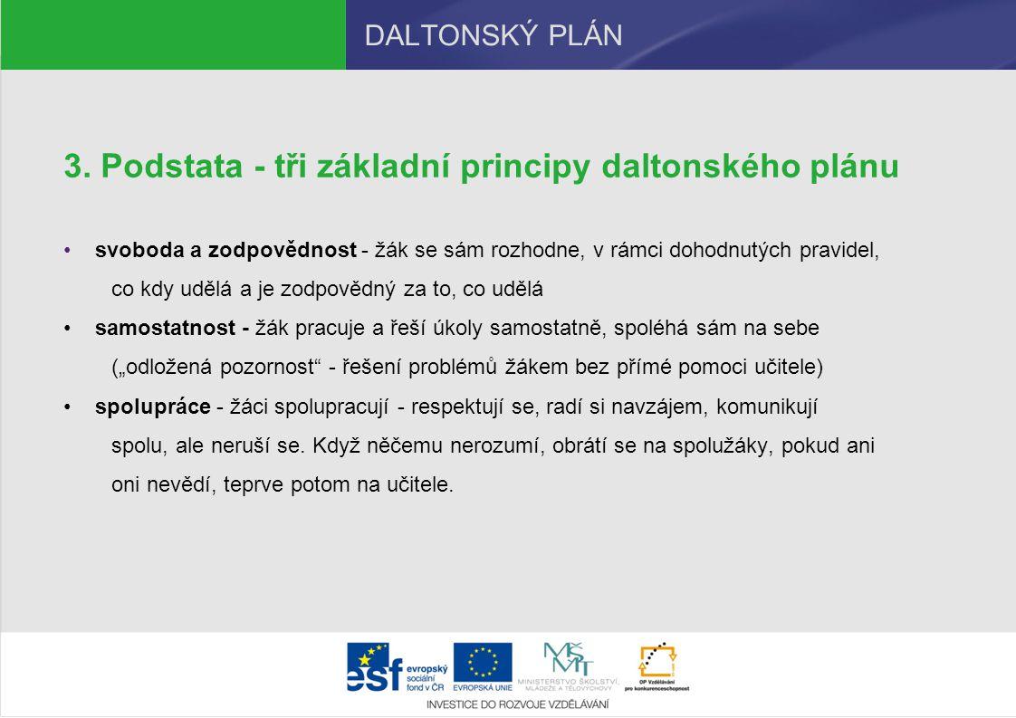 DALTONSKÝ PLÁN 3. Podstata - tři základní principy daltonského plánu svoboda a zodpovědnost - žák se sám rozhodne, v rámci dohodnutých pravidel, co kd