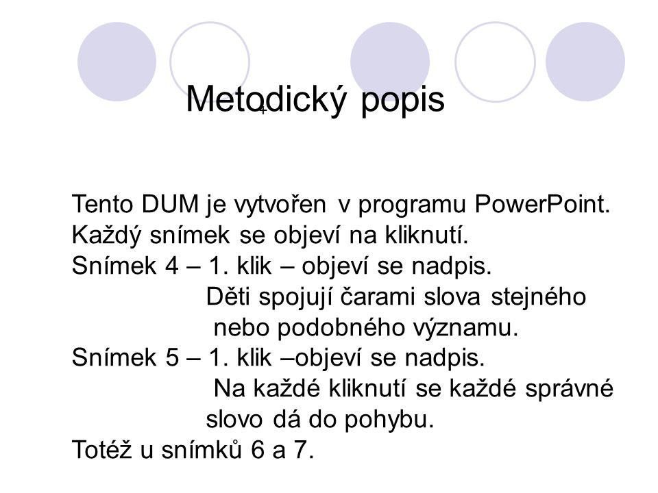 + Tento DUM je vytvořen v programu PowerPoint. Každý snímek se objeví na kliknutí. Snímek 4 – 1. klik – objeví se nadpis. Děti spojují čarami slova st