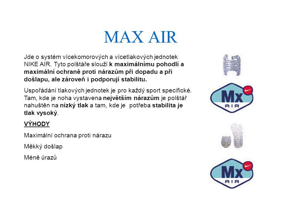 MAX AIR Jde o systém vícekomorových a vícetlakových jednotek NIKE AIR.