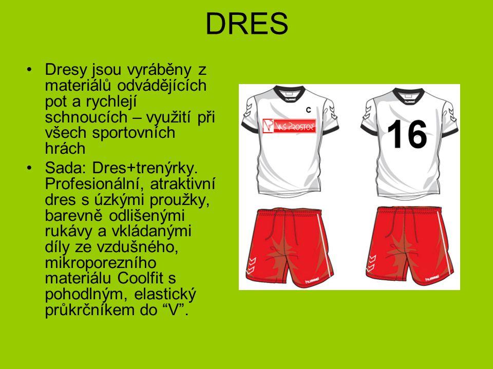 DRES Dresy jsou vyráběny z materiálů odvádějících pot a rychlejí schnoucích – využití při všech sportovních hrách Sada: Dres+trenýrky.