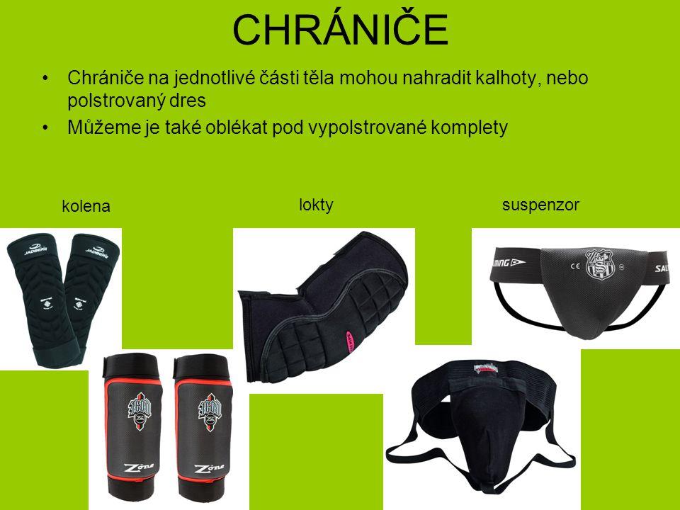 CHRÁNIČE Chrániče na jednotlivé části těla mohou nahradit kalhoty, nebo polstrovaný dres Můžeme je také oblékat pod vypolstrované komplety kolena lokt