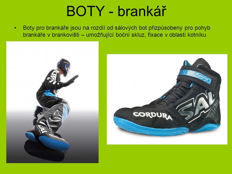 BOTY - brankář Boty pro brankáře jsou na rozdíl od sálových bot přizpůsobeny pro pohyb brankáře v brankovišti – umožňující boční skluz, fixace v oblas