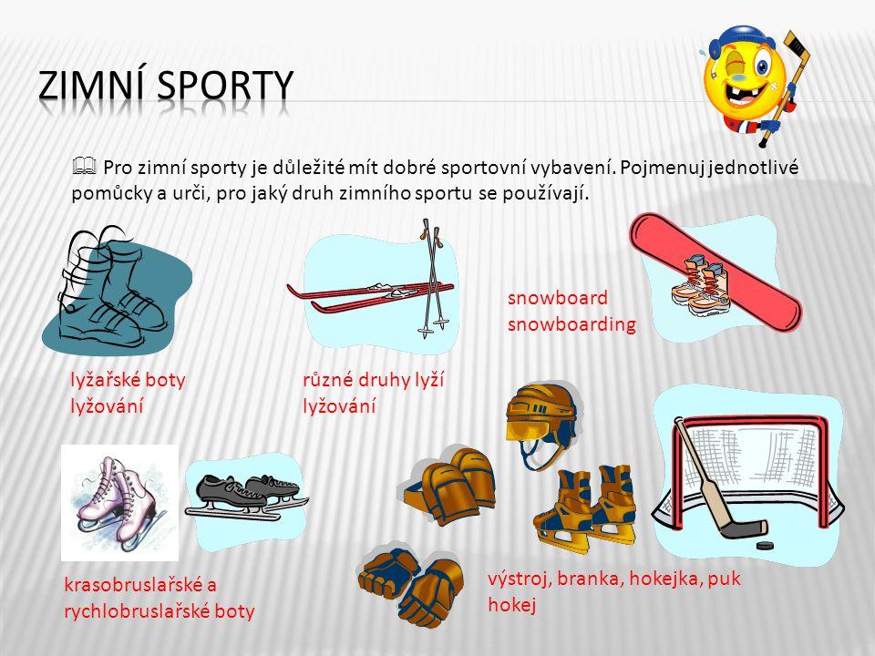 6  Pro zimní sporty je důležité mít dobré sportovní vybavení. Pojmenuj jednotlivé pomůcky a urči, pro jaký druh zimního sportu se používají. lyžařské