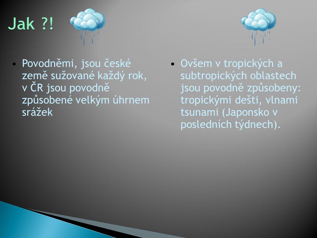 Povodněmi, jsou české země sužované každý rok, v ČR jsou povodně způsobené velkým úhrnem srážek Ovšem v tropických a subtropických oblastech jsou povodně způsobeny: tropickými dešti, vlnami tsunami (Japonsko v posledních týdnech).