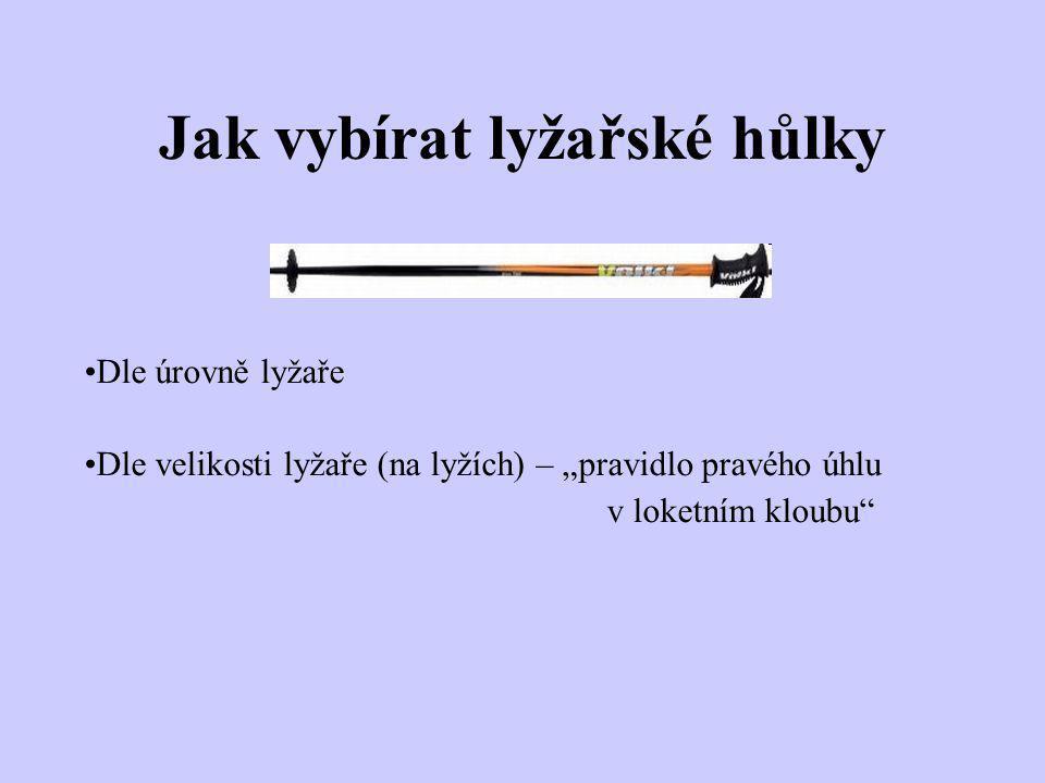 """Jak vybírat lyžařské hůlky Dle úrovně lyžaře Dle velikosti lyžaře (na lyžích) – """"pravidlo pravého úhlu v loketním kloubu"""""""
