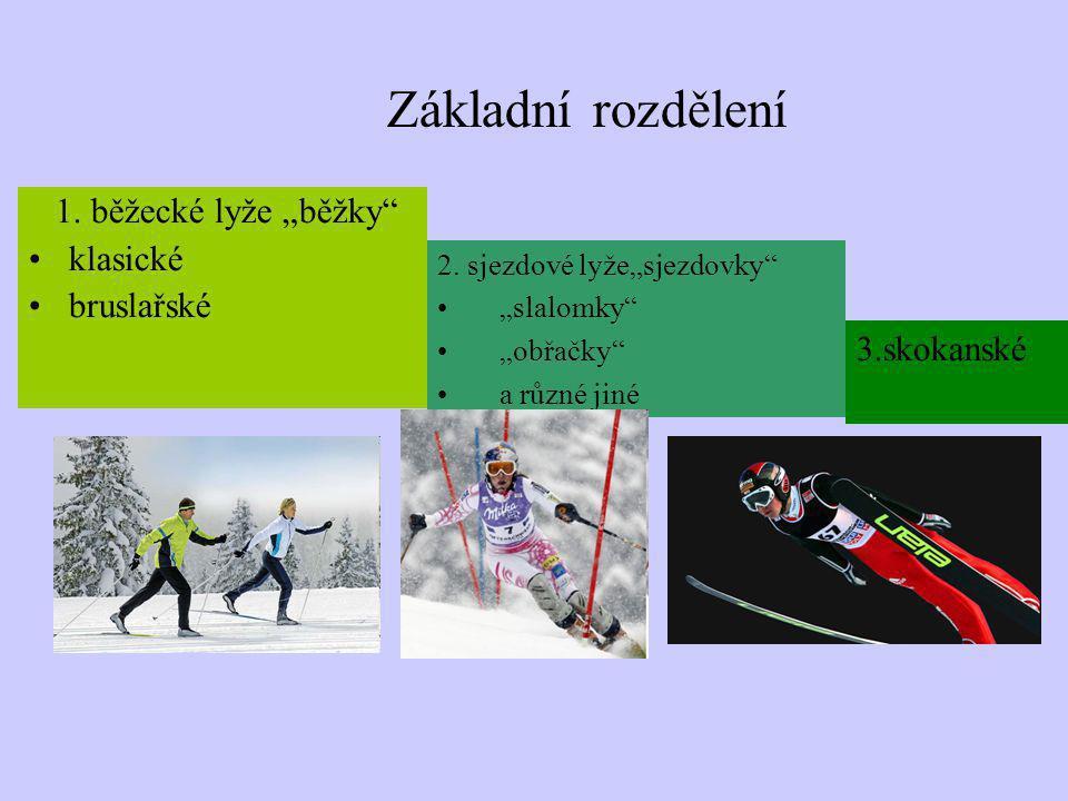 """Základní rozdělení 1. běžecké lyže """"běžky"""" klasické bruslařské 2. sjezdové lyže""""sjezdovky"""" """"slalomky"""" """"obřačky"""" a různé jiné 3.skokanské"""