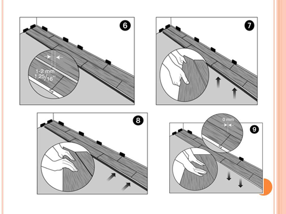 TDI U LAMINÁTOVÝCH PODLAH KONTROLUJE: V místech průchodu trubek topení – v příslušných prvcích se musí vyvrtat nebo vyříznout otvory, velikost otvoru – závisí na krytce topného tělesa a se zohledněním potřebného dilatačního odstupu (cca 10mm) V místech dveřních přechodů- nutno použít vhodný profilový systém pro dodržení dilatačního odstupu, pokud v další místnosti stejný typ podlahy – pro dodržení dilatační spáry se použije přechodový profil U půdorysů tvaru T,L, nebo U- musí být provedeno oddělení jednotlivých dílčích ploch vhodnými profilovými systémy