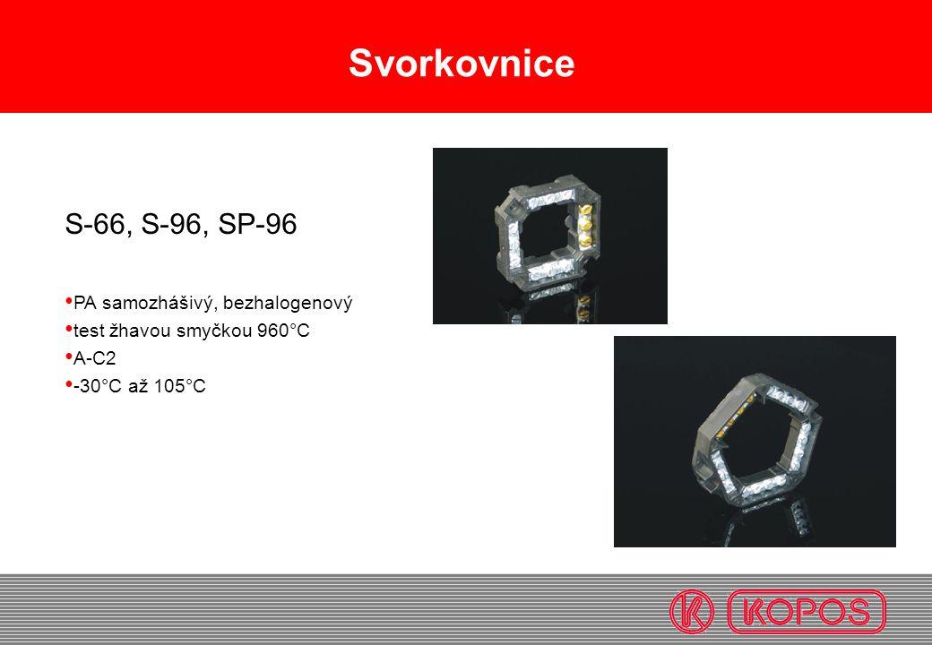 Svorkovnice S-66, S-96, SP-96 PA samozhášivý, bezhalogenový test žhavou smyčkou 960°C A-C2 -30°C až 105°C