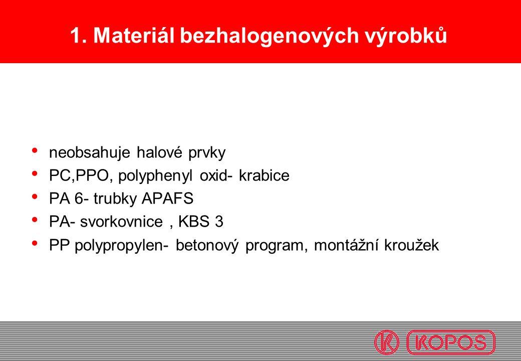 1. Materiál bezhalogenových výrobků neobsahuje halové prvky PC,PPO, polyphenyl oxid- krabice PA 6- trubky APAFS PA- svorkovnice, KBS 3 PP polypropylen