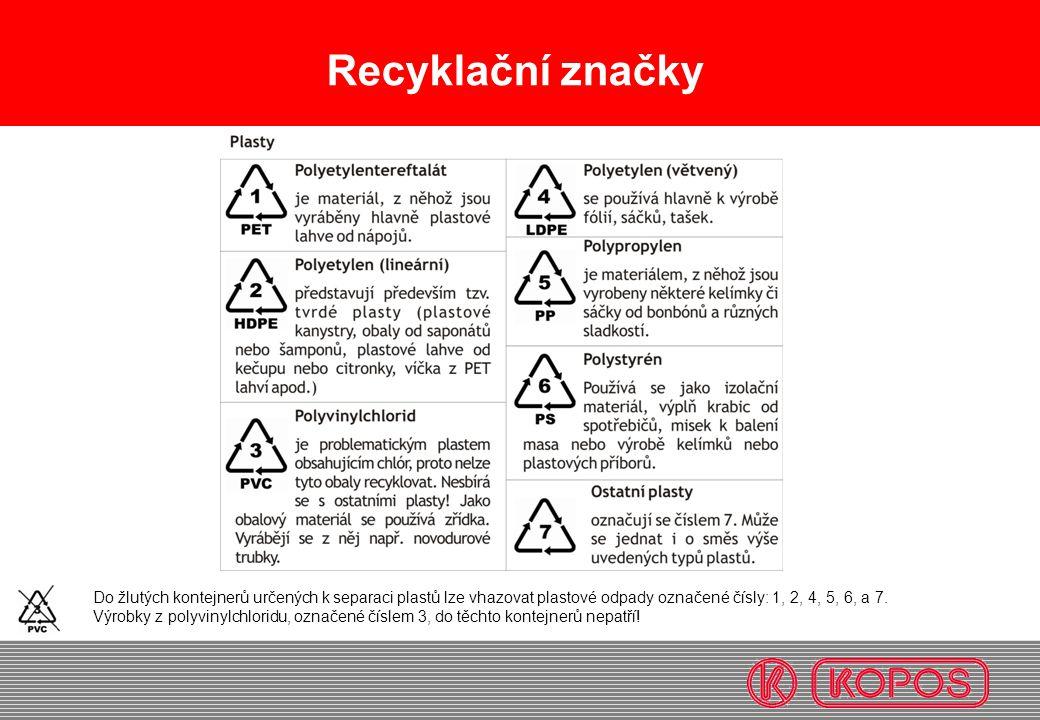 Recyklační značky Do žlutých kontejnerů určených k separaci plastů lze vhazovat plastové odpady označené čísly: 1, 2, 4, 5, 6, a 7. Výrobky z polyviny